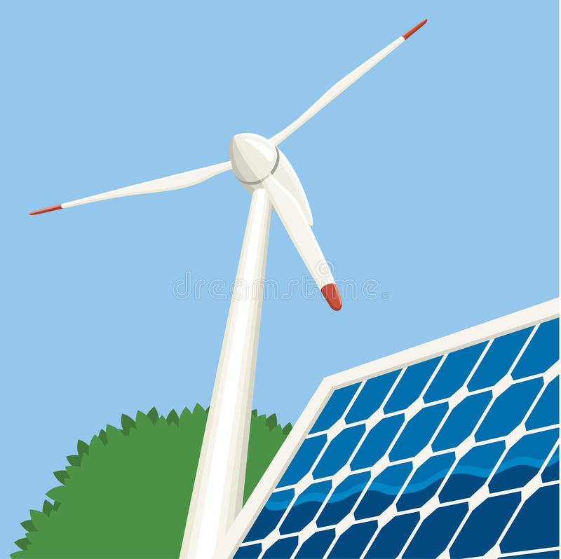 Download Wind and Solar Energy stock vector. Image of grid, ecology - 20283895