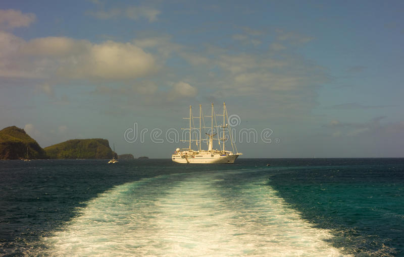The wind star arriving at an island in the caribbean royalty free stock photography