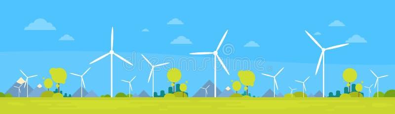 Wind-Stations-alternative Energiegewinnungs-Ressourcen-Natur-Hintergrund-Fahne stock abbildung