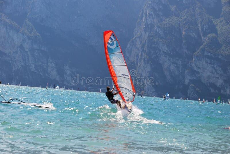 Wind surfers. Photos taken in Italy-lake Garda royalty free stock photo