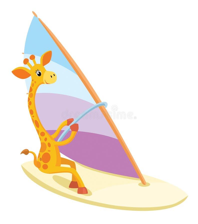 Wind-surfing giraffe. Vector summer illustration. stock illustration
