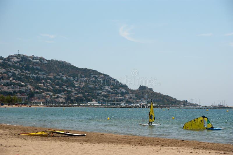 Wind surfing Mediterranean Sea Sort Spain stock photography