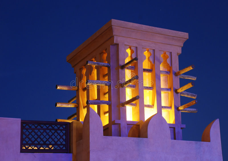 Wind Tower. Dubai. stock photos