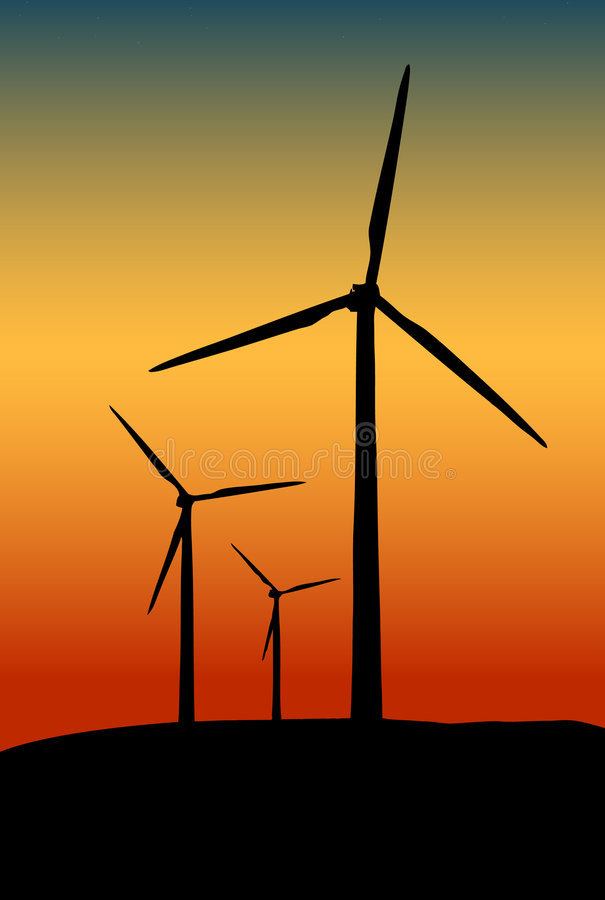 Wind towers at sunset royalty free illustration