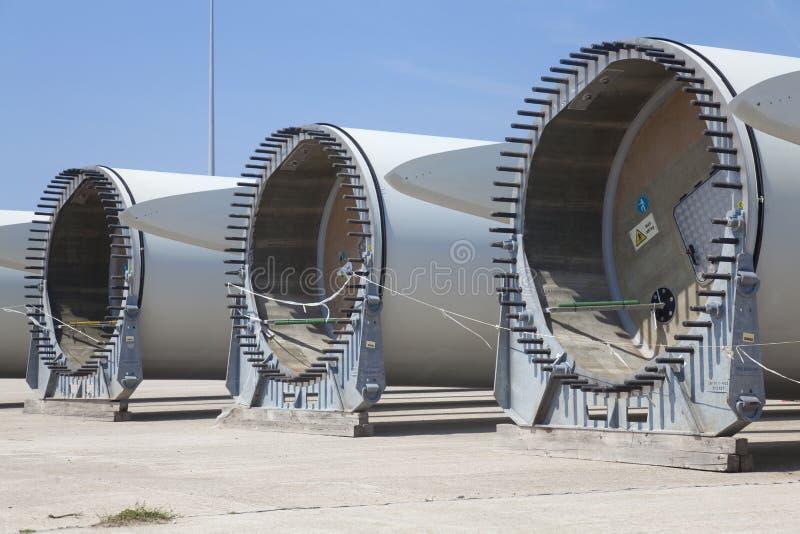 Wind turbine. Giant wind turbine awaiting assembly at wind farm royalty free stock photo