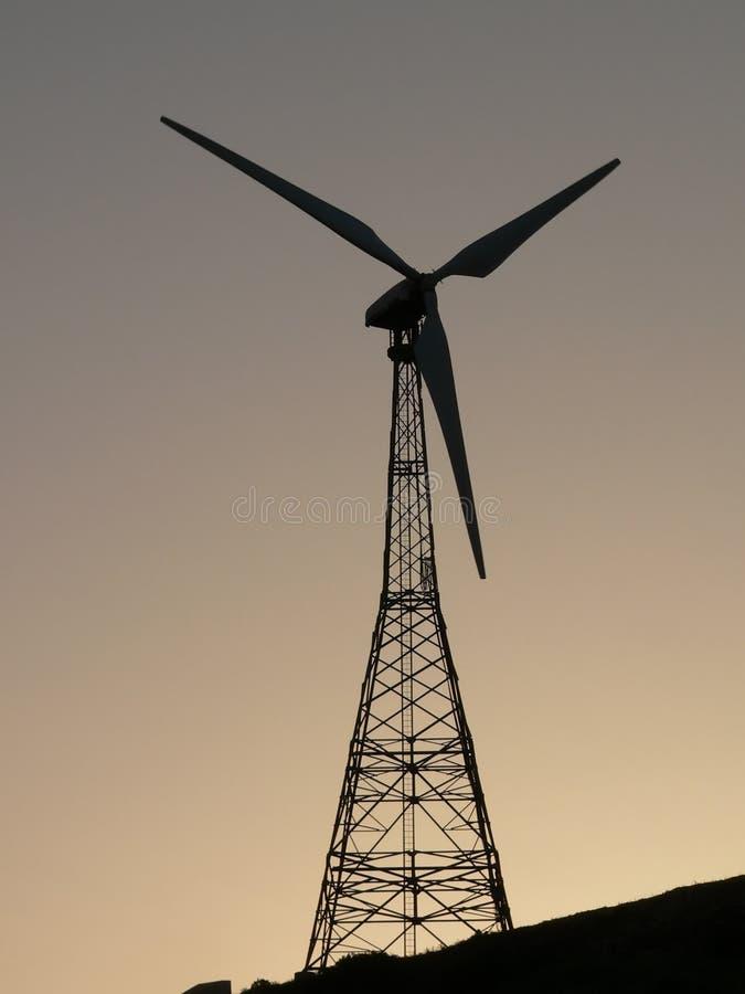 Wind Turbine. At sunset stock photo