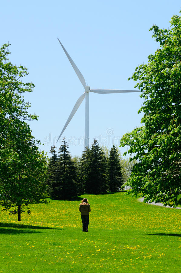 Wind Turbine. Giant Wind Turbine Providing Green Renewable Power To Homes stock photo