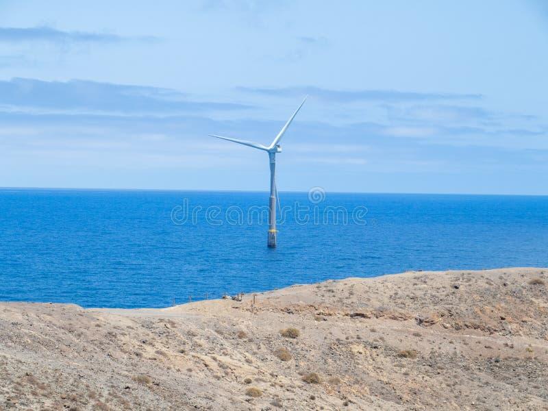 Wind turbine, Canary island. Wind power turbines at Aguimes. Gran Canaria, Canary Islands, Spain stock photo