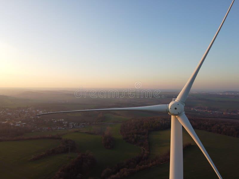 Wind turbine close up royalty free stock photo