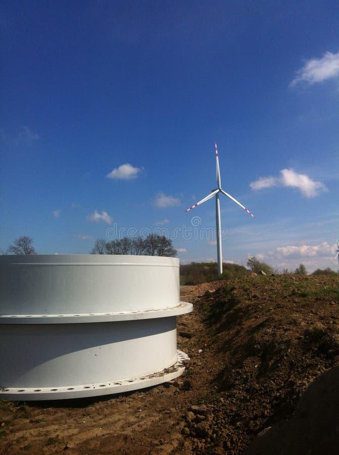Wind turbine construction stock photography