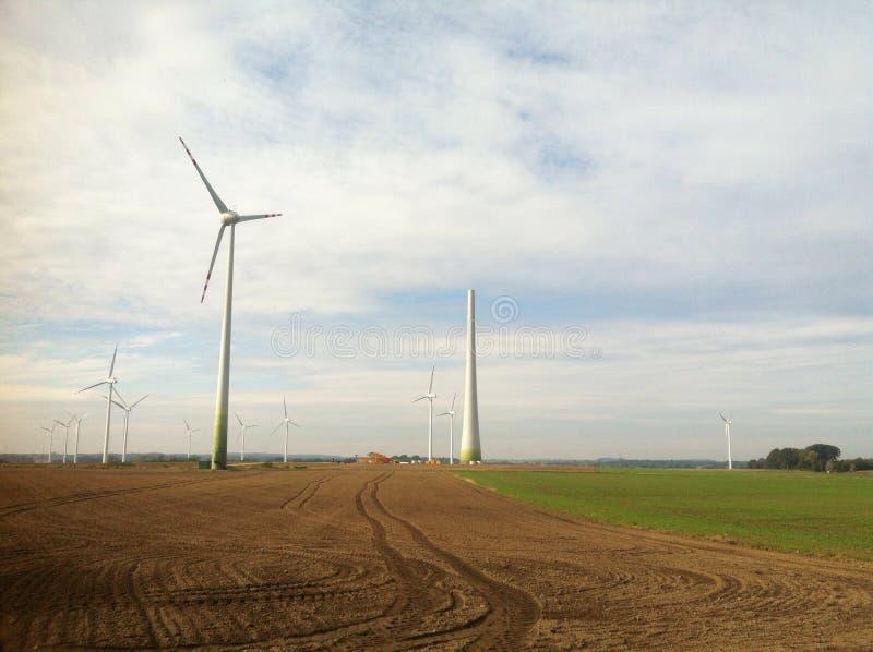 Wind turbine construction royalty free stock photography