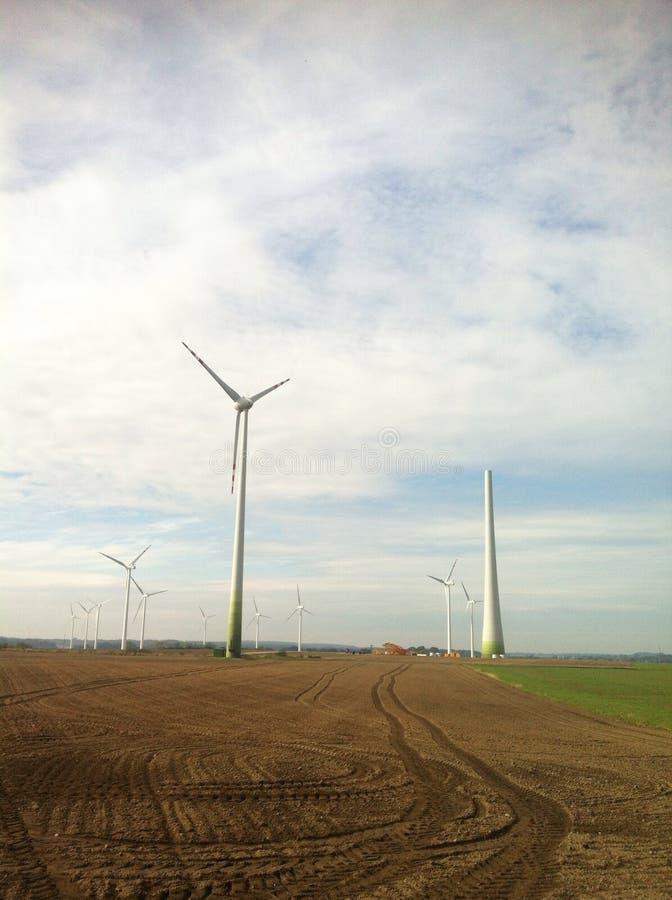 Wind turbine construction royalty free stock photos