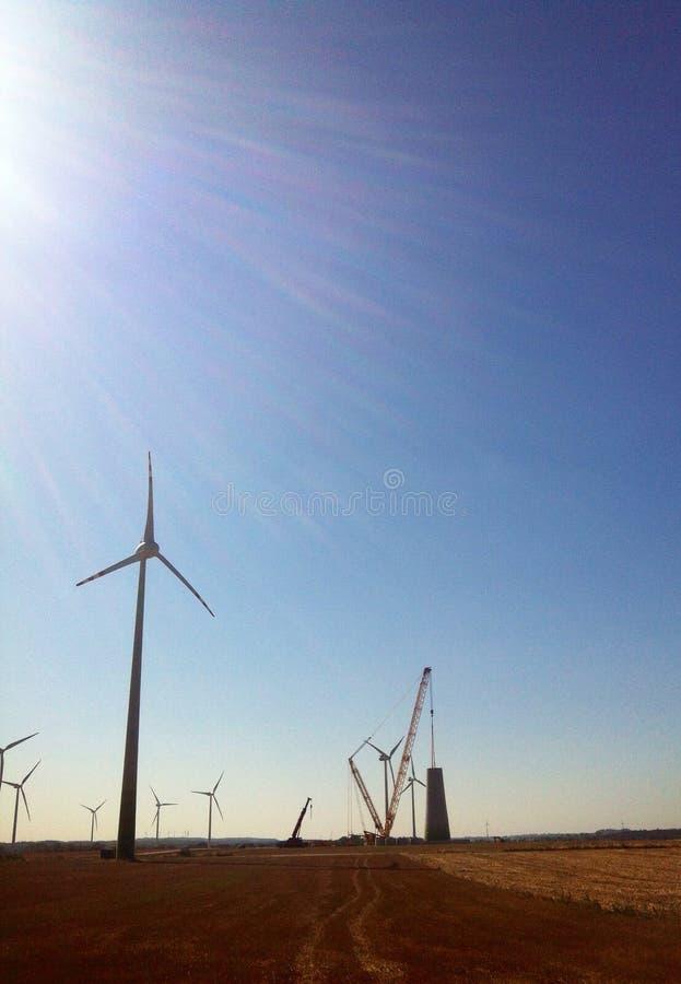 Wind turbine construction stock photos