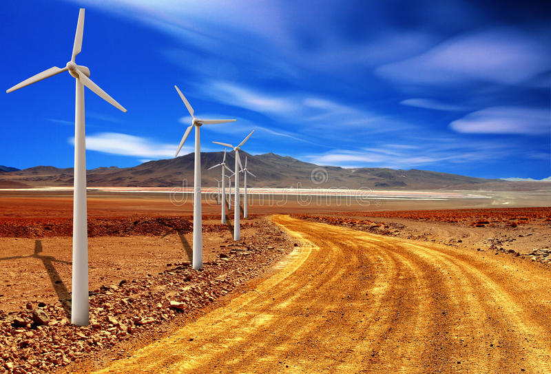 Wind turbine in the desert royalty free stock images