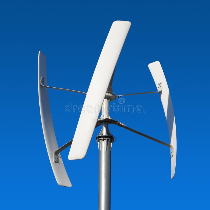 Wind turbine ecological energy source. Wind turbine, renewable and ecological energy source of future royalty free stock images