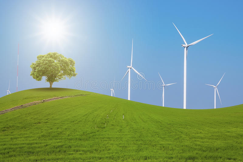 Wind turbine for electricity production royalty free stock photo
