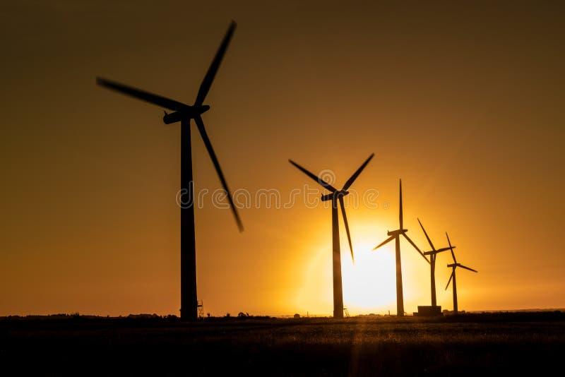 Wind turbine energy generaters on wind farm royalty free stock image