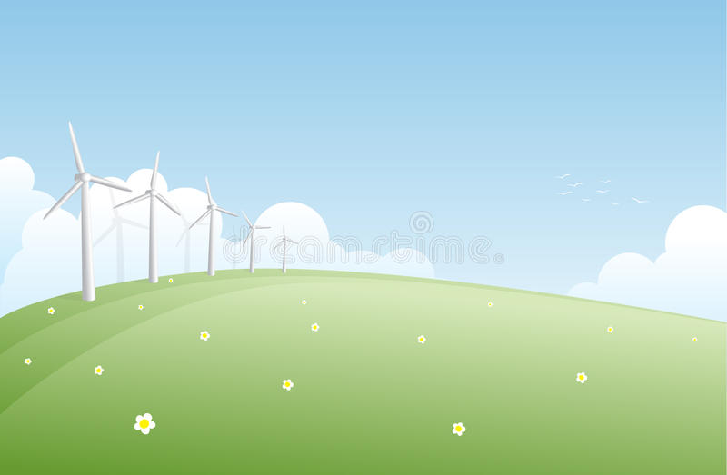 Wind Turbine Farm. Wind generators on a green field stock illustration