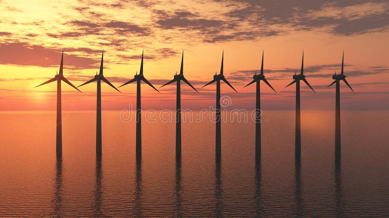 Wind turbine farm. Ecology electric energy farm with wind turbine at sunset royalty free stock photo