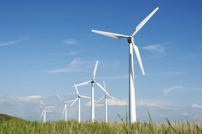 Wind turbine farm stock image