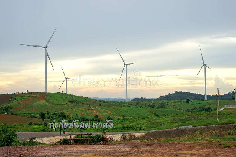 Wind turbine farm during beautiful sunset, Alternative green energy for protection of nature at Khao Kho, Phetchabun, Thailand stock photos