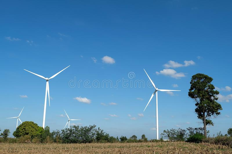 Wind turbine farm in the field - a renewable energy source.  stock image