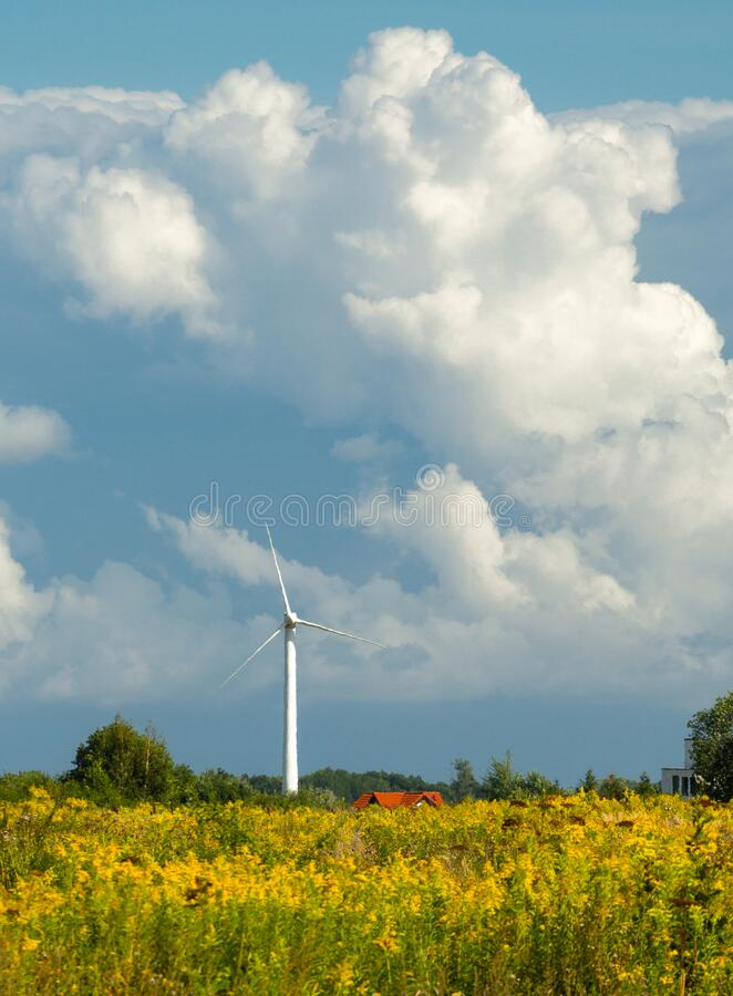 Wind turbine farm at the field with stormy clouds. Wind power for electricity, clean energy royalty free stock photography