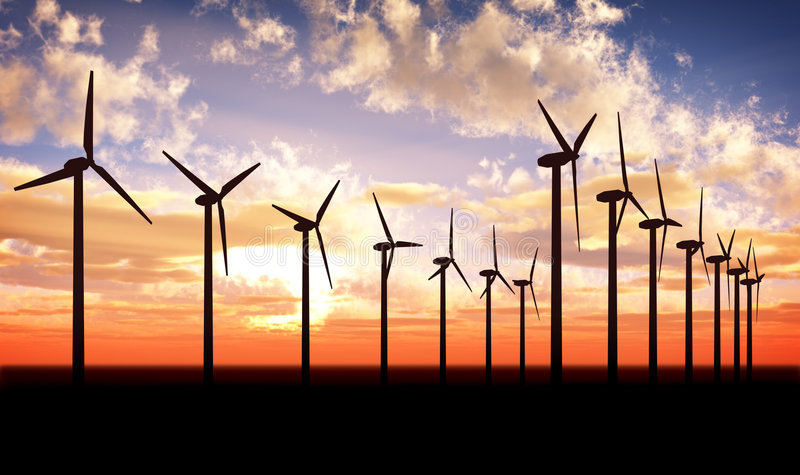 Wind turbine farm over sunset stock illustration