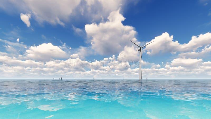 Wind turbine generating electricity on sea 3D render stock photos