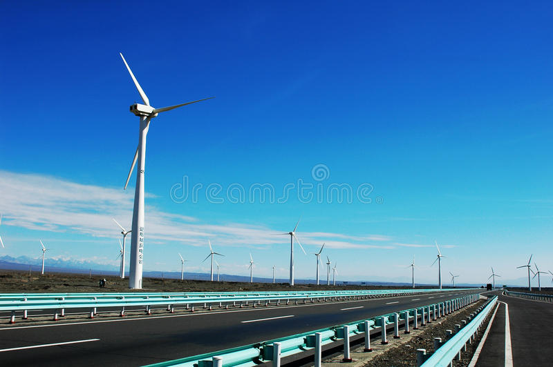 Download Wind Turbine Generators By A Highway Stock Image - Image: 12457867