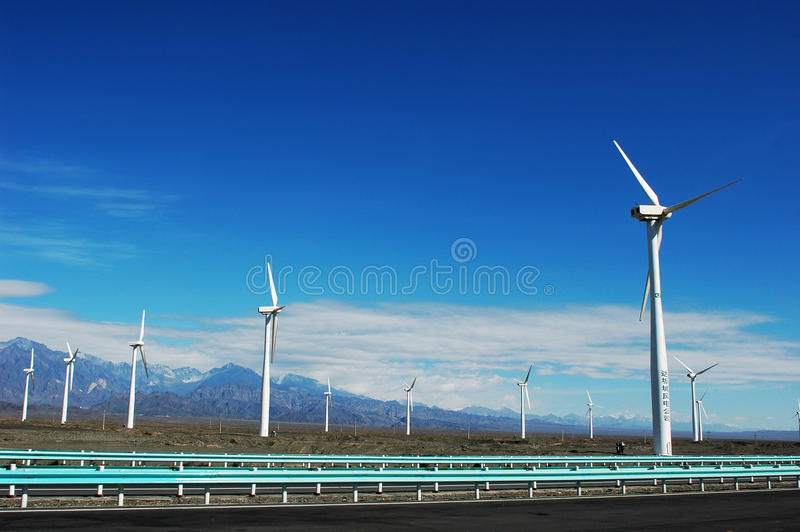 Download Wind Turbine Generators By A Highway Stock Image - Image: 12457909