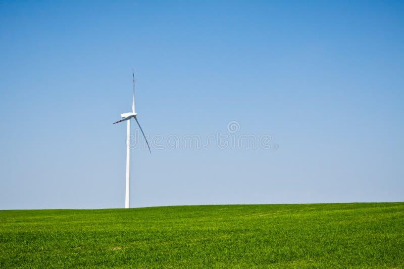 Wind turbine on green field royalty free stock image