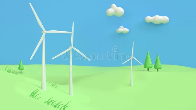 Wind turbine green hill blue sky cartoon style abstract 3d render,renewable energy environment save earth concept stock image