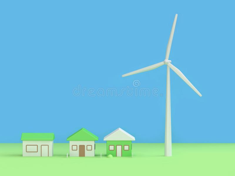 Wind turbine house abstract green blue background 3d render,renewable energy environment save earth concept stock illustration