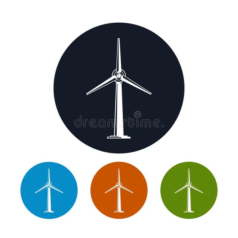 Wind Turbine Icons. Wind Turbine Icon, Four Types of Colorful Round Icons Horizontal Axis Wind Turbine , Vector Illustration stock illustration