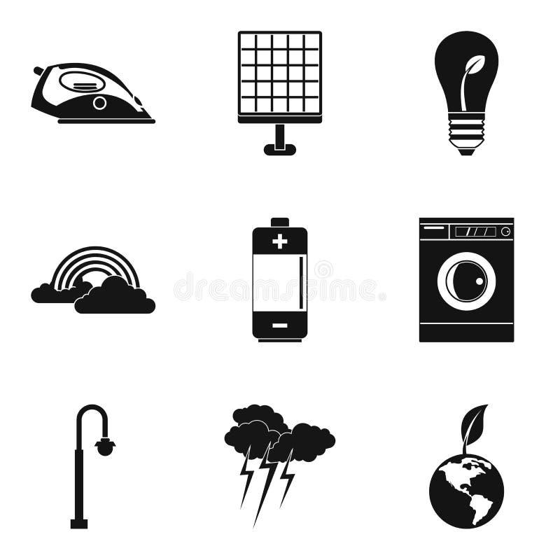 Wind turbine icons set, simple style. Wind turbine icons set. Simple set of 9 wind turbine vector icons for web isolated on white background royalty free illustration