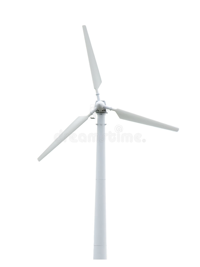 Wind turbine isolated. Alternative energy source. Wind turbine isolated on white. Alternative energy source stock image