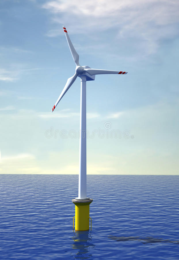 Wind Turbine Offshore Stock Photography