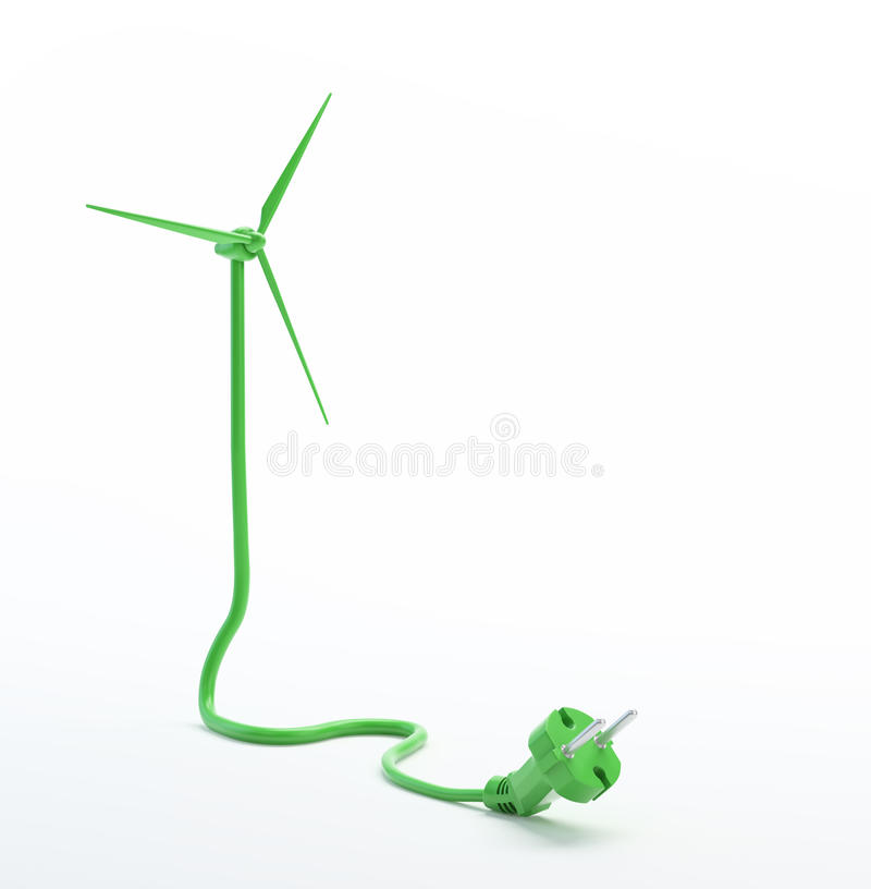 Wind turbine power cord stock illustration