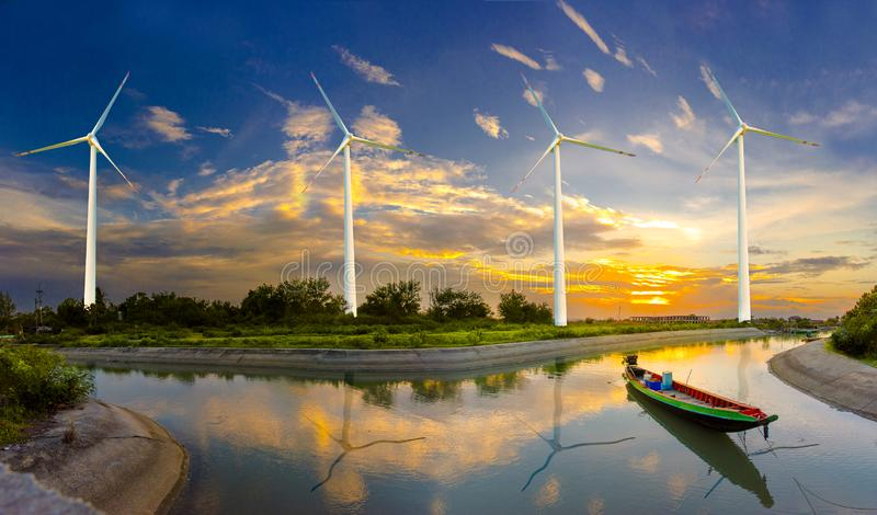 Wind turbine or wind power Translated into electricity, environmental protection Make the world not hot. stock image