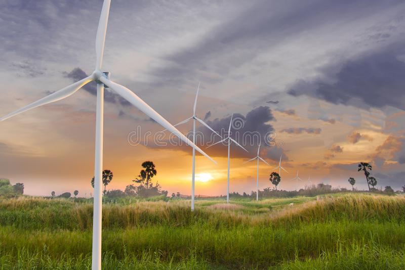 Wind turbine or wind power Translated into electricity, environmental protection Make the world not hot. royalty free stock photo