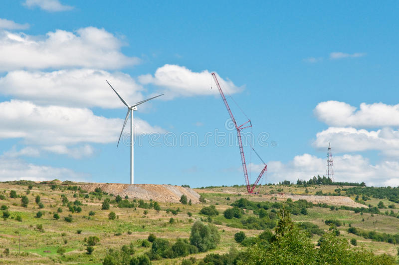 Wind turbine renewable energy source. stock photos