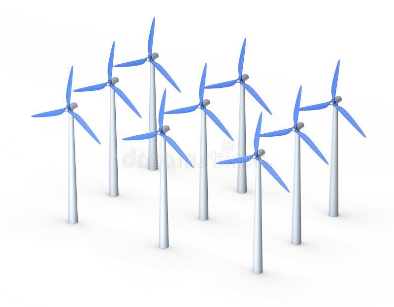 Wind turbine set.3D rendering illustration.Isometric view. Wind turbine set.Isolated on white background. 3D rendering illustration.Isometric view vector illustration