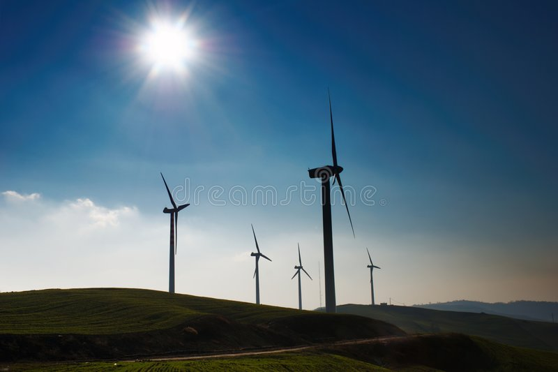 Wind turbine silhouette. stock image