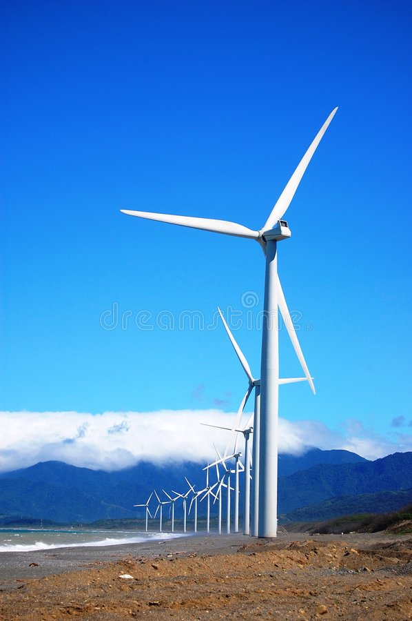 Wind Turbine in a single row stock photography
