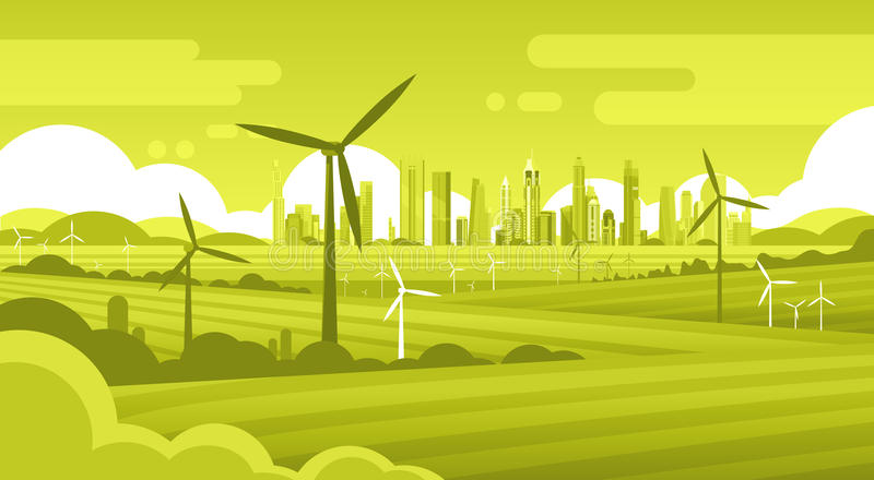 Wind Turbine Tower In Field Green City Background Ecology Alternative Energy Source Technology stock illustration