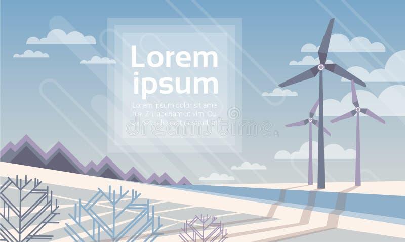 Wind Turbine Tower In Winter Snow Field Alternative Energy Source Technology royalty free illustration