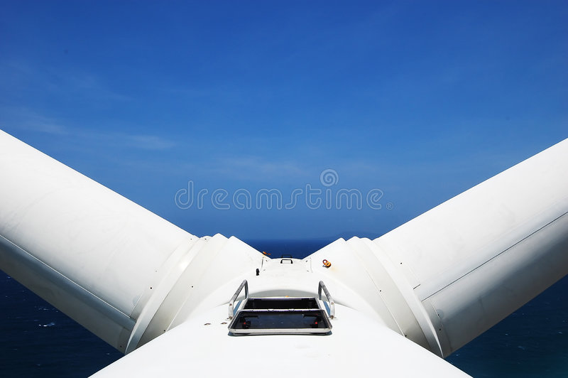 Wind turbine in V position royalty free stock photos