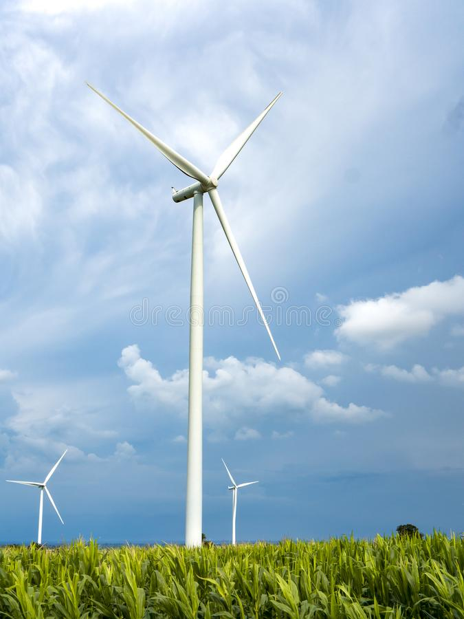 A Wind Turbine on a Wind Farm. Windmills for electric power production royalty free stock image