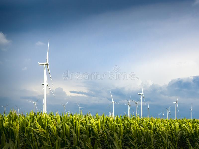 A Wind Turbine on a Wind Farm. Windmills for electric power production royalty free stock images
